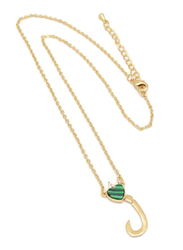 Florence Collection Gold Plated Copper Necklace for Women, with Heart and Arabic Letter L Pendant, Green/Gold