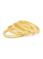 Florence Collection 4-Pieces Gold Plated Copper Heart Net Bangle Bracelet for Women, White/Gold