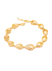 Florence Collection 18K Gold Link Bracelet for Women with Cubic White Stone Engravings Lobster Clasp and Water Droplet Design, Gold