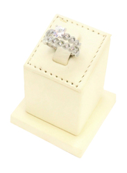 Florence Collection Rhodium Polished Wedding Ring for Women with Zircon Stone Studded, Silver, Free Size
