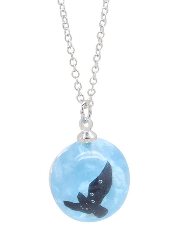 Florence Collection Silver Plated Copper Necklace for Women, with Sky Cloud Resin Ball Pendant, Blue/Silver