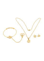 Florence Collection 3-Pieces 18K Gold Plated Jewellery Set for Girls, with Earrings, Bracelet, Ring and Necklace with Heart Shape Design and Cubic Zirconia Stones, Gold