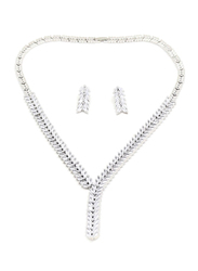 Florence Collection 2-Piece Silver Plated Frosty Winter Leaf Necklace and Earrings Jewellery Set for Women, with Cubic Zirconia Stone, White/Silver