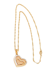 Florence Collection Gold Plated Copper Twin Outer Hearts Pendant Necklace for Women, with Cubic Zirconia Stone, Gold/White