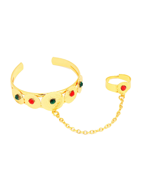 Florence Collection 18k Gold Plating Coin Shaped Cuff Bracelet for Girls with Gemstone Engravings and Ring attached, Gold