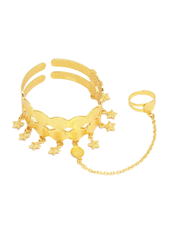 Florence Collection 18k Gold Plating Cuff Bracelet for Women with Star Shaped Charms and Ring Attached, Gold