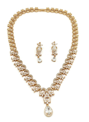 Florence Collection 2-Piece Gold Plated Flower Drop Crystal Necklace and Earrings Jewellery Set for Women, with Cubic Zirconia Stone, White/Gold