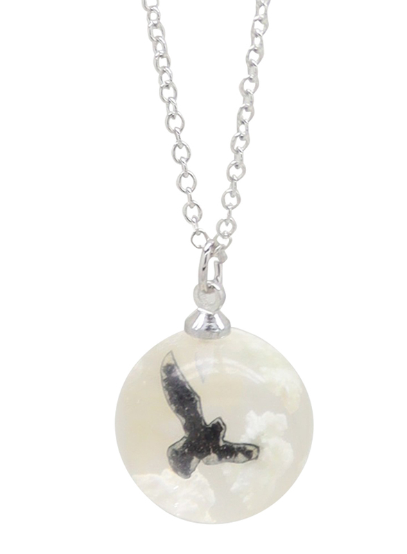 Florence Collection Silver Plated Copper Necklace for Women, with Sky Cloud Resin Ball Pendant, White/Silver