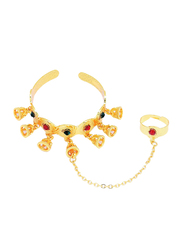 Florence Collection 18k Gold Plating Cuff Bracelet for Girls with Gemstone Engravings and Decorative Jhumkas Ring Attached, Gold