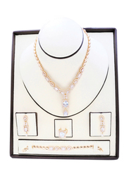 Florence Collection 4-Piece Gold Plated Bridal Set for Women with Zircon Studded Necklace, Earrings, Ring and Bracelet