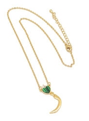 Florence Collection Gold Plated Copper Necklace for Women, with Heart and Arabic Letter Z Pendant, Green/Gold