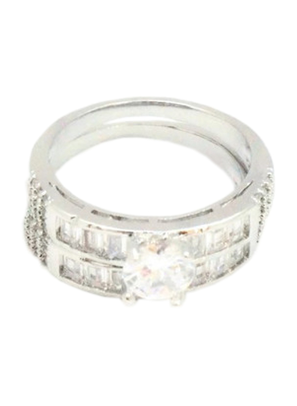 Florence Collection Rhodium Wedding Ring for Women with Zircon Stones Studded, Silver, Free Size
