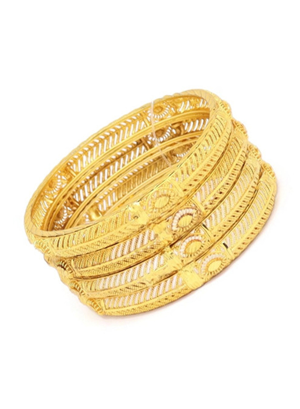 Florence Collection 4-Pieces Gold Plated Copper Evil-Eye Protection Bangle Bracelet for Women, White/Gold