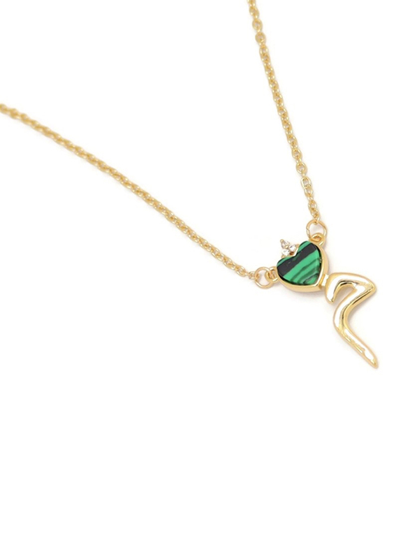 Florence Collection Gold Plated Copper Necklace for Women, with Heart and Arabic Letter M Pendant, Green/Gold