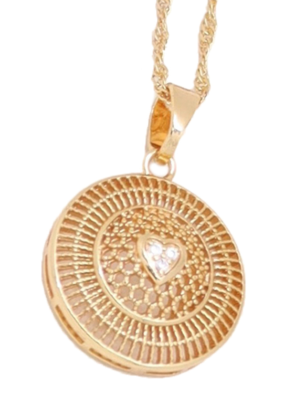 Florence Collection Gold Plated Copper Circle of Love Pendant Necklace for Women, with Cubic Zirconia Stone, Gold/White