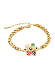 Florence Collection 18K Gold Curb Link Bracelet for Women with Multi-Colored Gemstones and Pearls, Flower Shaped Charms, Gold