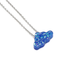 Florence Collection Silver Plated Copper Cloud Pendant Necklace for Women, with Opal Stone, Blue/Silver