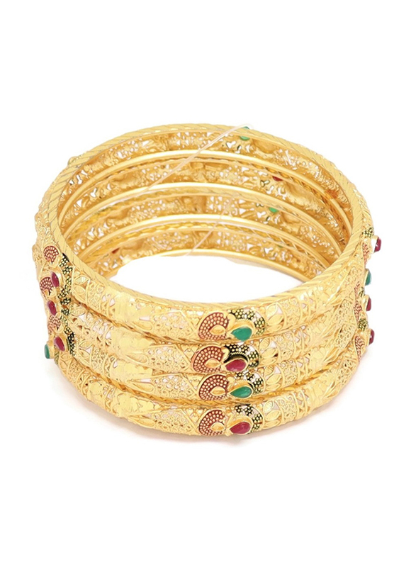 Florence Collection 4-Pieces Gold Plated Copper Infinity Teardrop Bangle Bracelet for Women, with Emerald, Ruby Crystals Stone, Red/Gold