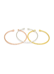 Florence Collection 3-Piece 18k Gold Plating Bangle Bracelets Set for Women with Rope Style Twisted and Sophisticated Design Small Ball Terminals on Either End, Silver/Gold/Rose Gold
