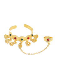 Florence Collection 2-Pieces Gold Plated Copper Bell-Shape Indian Jhumka Cuff Bracelet & Ring Jewellery Set for Kids, with Ruby and Emerald Stones, Gold