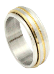 Florence Collection Two Tone Stainless Steel Round Ring for Men, Silver, Free Size
