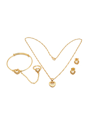 Florence Collection 3-Pieces 18K Gold Plated Jewellery Set for Girls, with Earrings, Bracelet, Ring and Necklace with Heart Shape Design, Gold