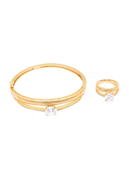 Florence Collection 2-Piece 18K Gold Latest Design Bracelet and Ring Set for Women with Sparkly White Cubic Stone, Gold