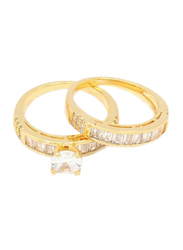 Florence Collection 18k Gold Pair Wedding Ring for Women with Zircon Stone Studded, Gold, Free Size