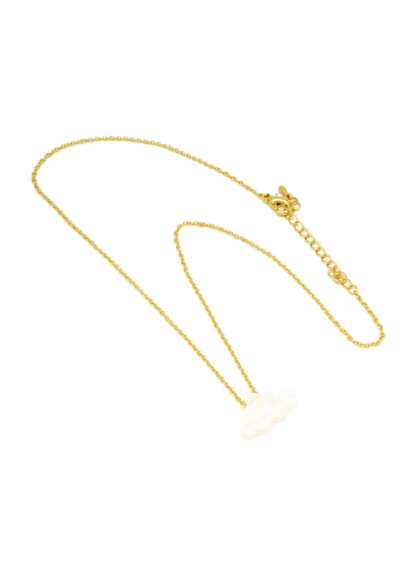 Florence Collection Gold Plated Copper Cloud Pendant Necklace for Women, with Opal Stone, White/Gold