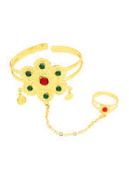 Florence Collection 18k Gold Plating Cuff Bracelet for Women with Multi-Color Stone Engravings and Seminal Star Charm Coin Shaped Jhumkas with Ring Attached, Gold