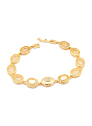 Florence Collection 18K Gold Link Bracelet for Women with Embossing's Cubic White Stone Fillings and Netted Geometric Design, Gold