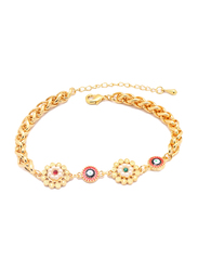Florence Collection 18K Gold Curb Link Bracelet for Women with Pearls and Multi-Colored Gemstones, Evil Eye Pendant and Flower Shaped Charms, Gold