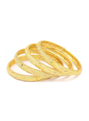 Florence Collection 4-Pieces Gold Plated Copper Teardrop Design Bangle Bracelet for Women, Yellow Gold