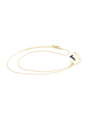 Florence Collection Gold Plated Copper Necklace for Women, with Sky Cloud Resin Ball Pendant, White/Gold