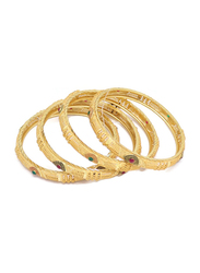 Florence Collection 4-Pieces Gold Plated Copper Evil-Eye Protection Bangle Bracelet for Women, with Emerald, Ruby Crystals Stone, Red/Green/Gold