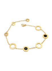 Florence Collection 18K Gold Chain Bracelet for Women with Roman Numeral Embossing's with Coin Design Charms, Gold/Black