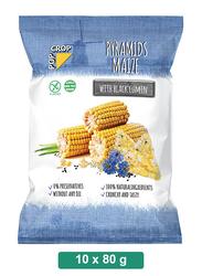 Pop Crop Gluten-Free Pyramids Maize with Black Cumin, 10 Packets x 80g