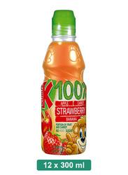 Kubus 100% Strawberry, Apple, Carrot, Banana Juice, 12 Bottles x 300ml