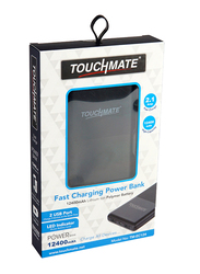 Touchmate 12400mAh TM-EC124 Fast Charging Power Bank with Micro-USB Input, with LED Indicator, Black