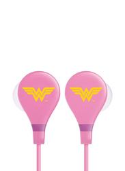 Touchmate Wonder Woman 3.5 mm Jack In-Ear Ultra Bass Earphones with Mic, Pink