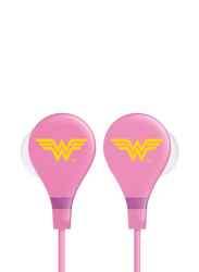 Touchmate Wonder Woman 3.5 mm Jack In-Ear Ultra Bass Earphones with Mic, Pink
