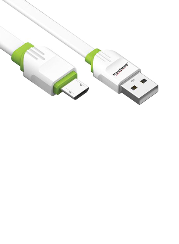 Touchmate 2-Meter Micro USB Charge and Data Sync Cable, High-Speed 2.4A Micro USB Type A Male to Micro-B USB for Smartphones, White