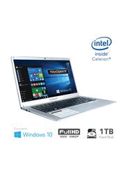 Touchmate Notebook Laptop, 14-inch Full-HD Display, Intel Celeron 2.40 GHz, 1TB HDD + 64GB SSD, 4GB RAM, Windows 10, English Keyboard, TM-NB148TSH, Silver