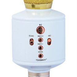 Touchmate TM-QK400 Wireless Bluetooth Karaoke Microphone with Speaker, Music Controls, Echo, TF Slot, Gold/White