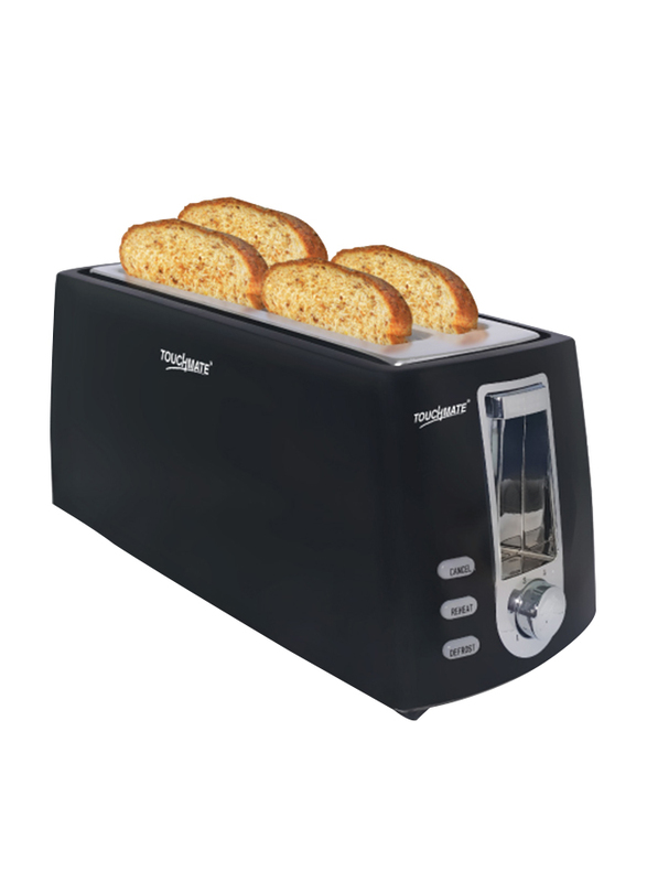 Touchmate 4-Slice Retro Toaster, 1200W, TM-TS200, Black