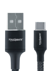 Touchmate 1-Meter USB Type-C Fabric Braided Charge and Data Sync Cable, High-Speed 2.4A USB Type A Male to USB Type-C for Smartphone, Black