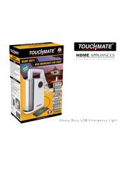 Touchmate Heavy Duty LED USB Emergency Light, TM-EML204, Black/White