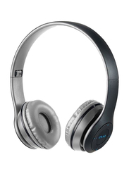 Touchmate TM-BTH500 Wireless Bluetooth On-Ear Headphones with Mic, FM, Aux & SD Card Slot, Grey/Black