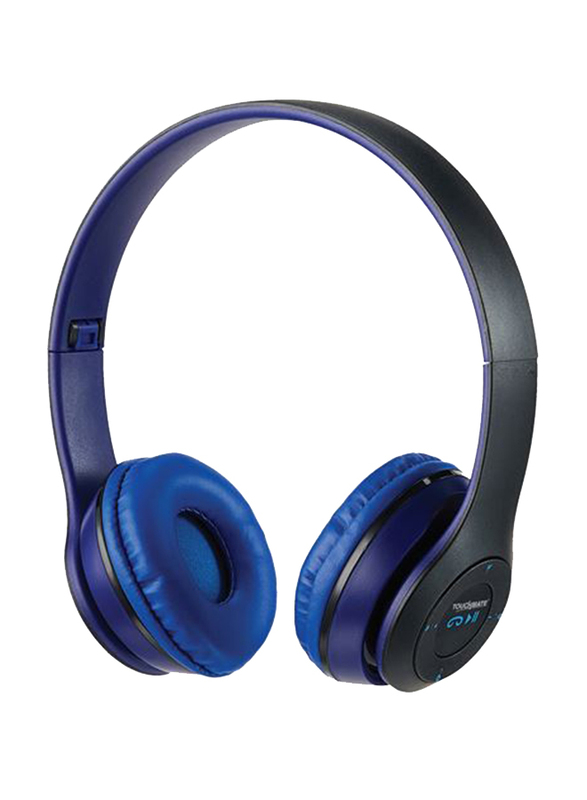 Touchmate TM-BTH500 Wireless Bluetooth On-Ear Headphones with Mic, FM, Aux & SD Card Slot, Blue/Black