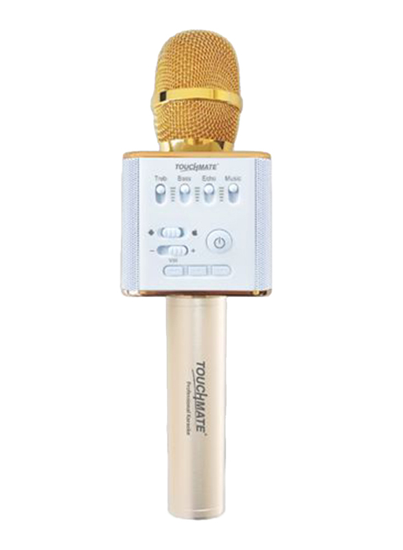 Touchmate TM-QK300N Wireless Karaoke Microphone with Bluetooth Dual Speakers and Equalizer, Gold